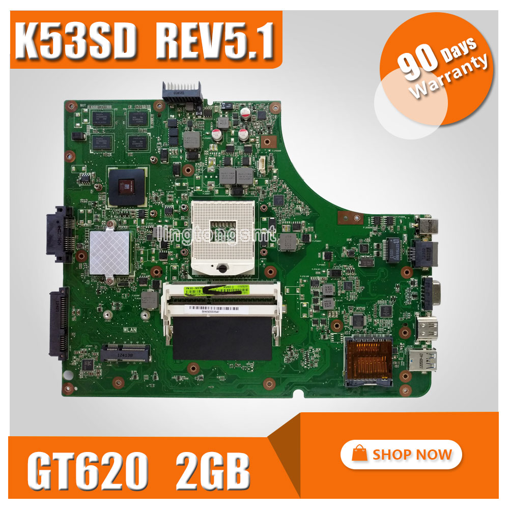 K53SD Laptop motherboard REV 5.1 laptop for ASUS mother board with Graphics card GT610M 2GB Mainboard 100% tested for asus k75de motherboard laptop mainboard qml70 la8371p rev 1a 100