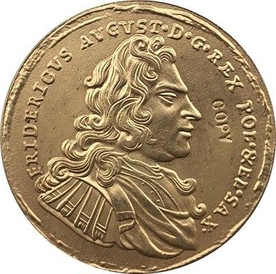 24-k Gpld-покрытием 1697 Польши, копии монет 27,6 мм