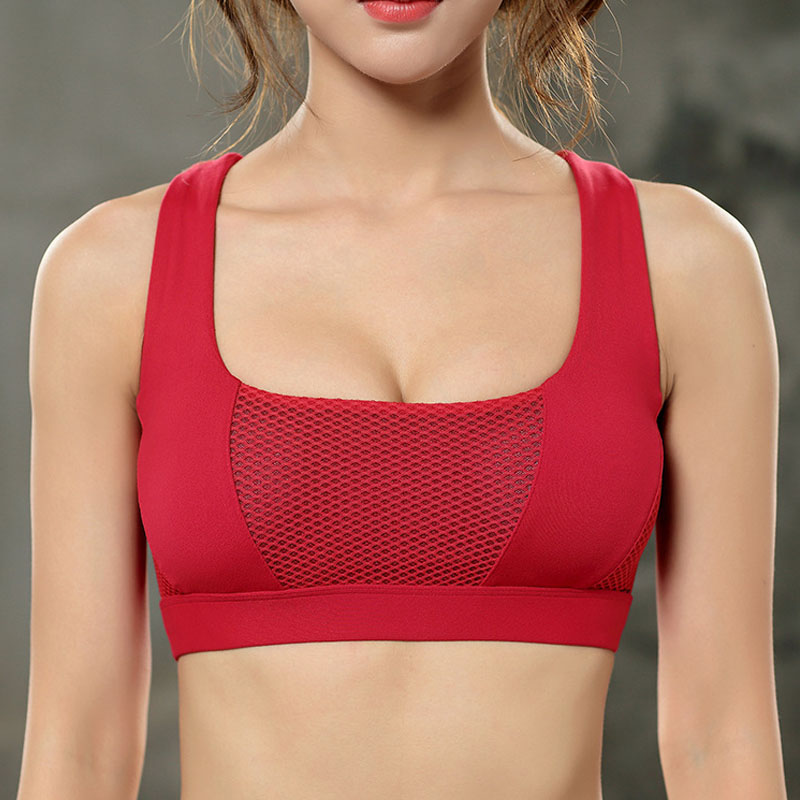 Women Bralette Cross Straps Mesh Patchwork Sporting Workout Bra Fitness Tank Tops Wirefree Shakeproof Push Up Seamless Top Bras