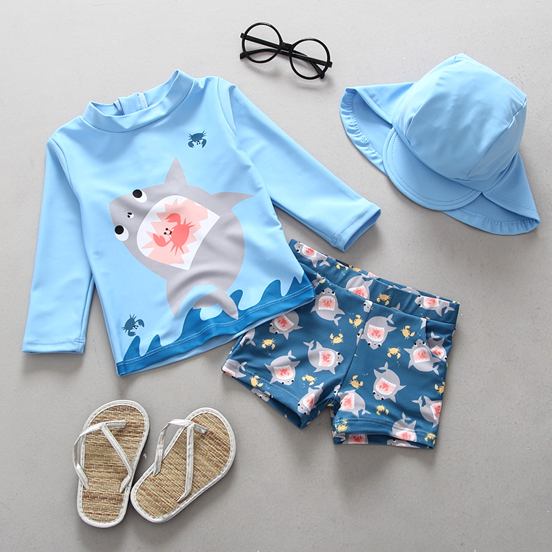 cd6e30a756 Boys Swimwear Two Pieces Swimsuits for Toddler Boy Shark Print Children  Swimsuit Long Sleeve Rash Guards