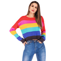 Rainbow women turtleneck sweaters winter jumpers knitted clothes fashion striped oversize pullovers
