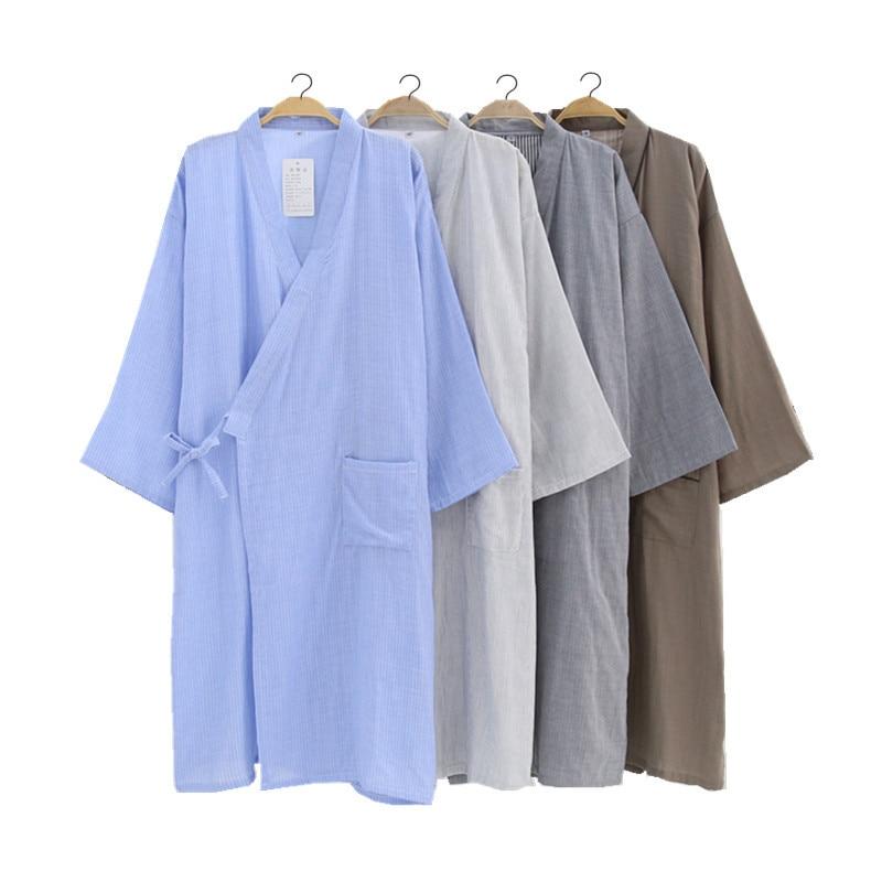 New Men s Dyed Double Gauze Robe Loose Casual Thin Cotton Robe Long Bathrobe  Kimono Night Robes Men Bath Robe Sleepwear-in Robes from Underwear    Sleepwears ... b7a4d4442