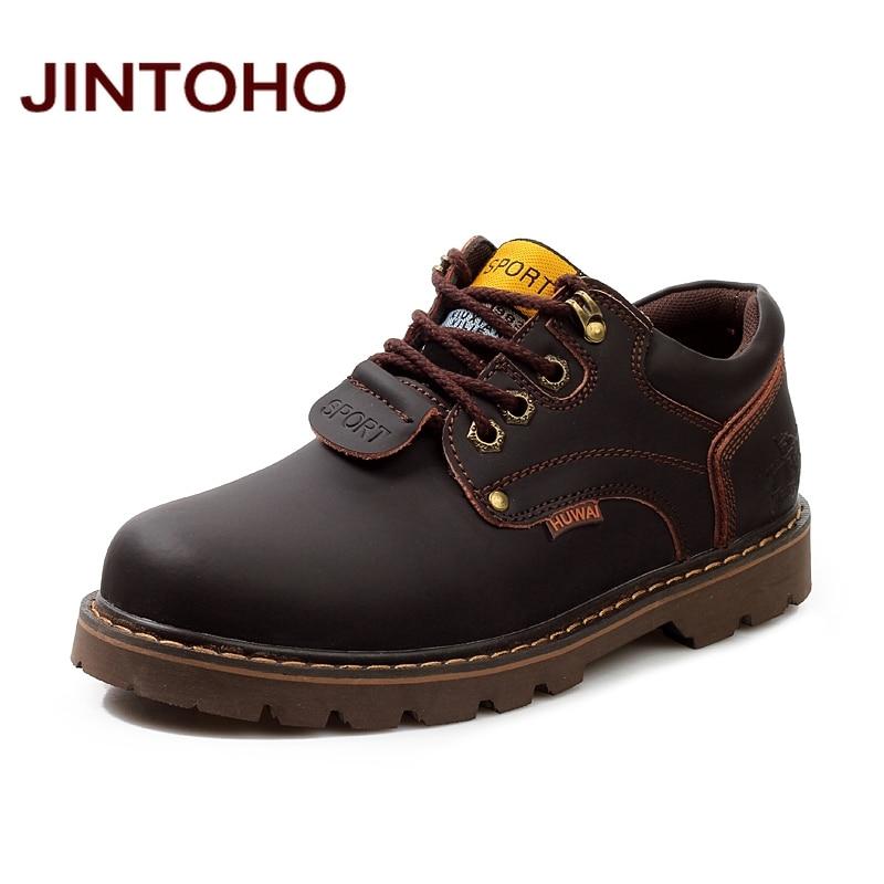 JINTOHO Men Genuine Leather Casual Shoes Leather Brand Men Shoes Work Safety Boots Designer Men Flats