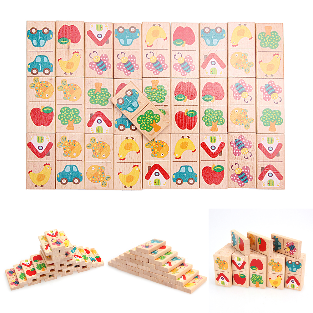 Wooden Cartoon Fruit Animal Recognize Blocks Dominoes Jigsaw Montessori Children Educational Intelligence Learning Toys 32 pcs setcolor changed diy jigsaw toys wooden children educational toys baby play tive junior tangram learning set