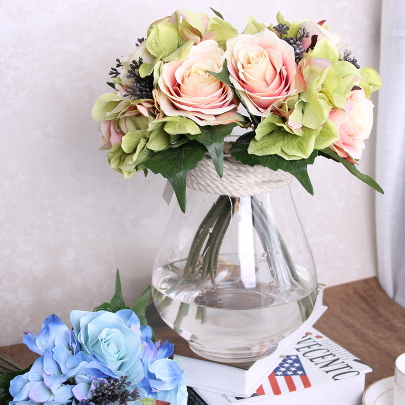 Diy Wedding Flower Bouquet: 9pcs Artificial Rose Flowers Rose Hydrangea Silk Flower