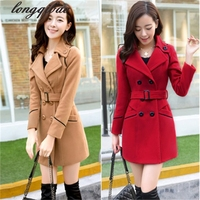 2019 New Spring Woolen Coat Trench Women Slim Double Breasted Black Winter Coats Long Outerwear for Women TB7667