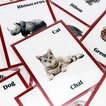 Crianças montessori francês/inglês animais, palavra, aprendizado, cartão, jogos, quebra-cabeças para crianças, bebês, juguetes, brinquedo educativo