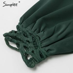 Image 5 - Simplee בציר תחרה מכפלת פרע נשים שמלה ארוך שרוול סטנד צוואר מיני גבירותיי שמלות גבוהה מותן נקבה סתיו שמלת vestidos