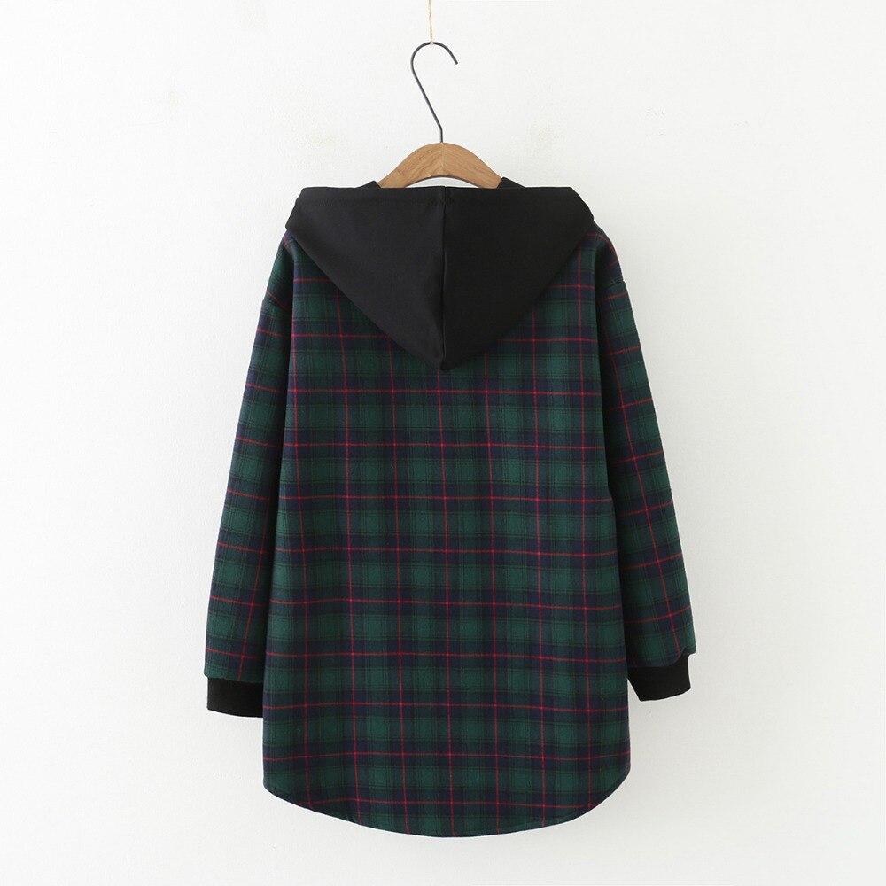 Grande taille polaire Plaid goutte épaule à capuche vestes 2019 décontracté surdimensionné dames zip-up hoodies Sweatshirts manteau femme - 3