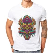 цена на Camisetas Hombre Verano Short Sleeve White Men T-Shirt Horror Skull T Shirts For Mens Breathable 100 Cotton Demon Man Tee Shirt