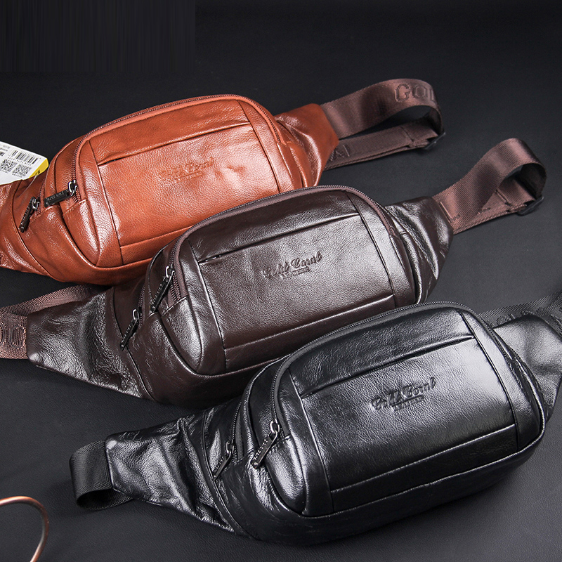 New Men Real Cowhide Fanny Pack Multi-Capacity Shoulder Travel Bag Purse Genuine Leather Hip Bum Belt Chest Pack Waist Bag
