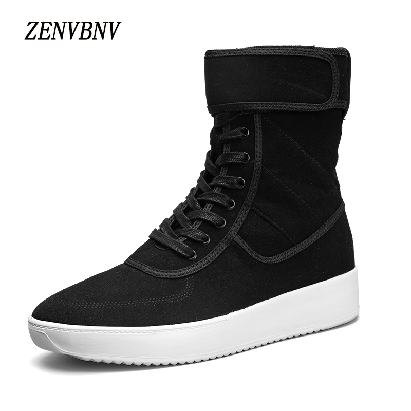 ZENVBNV New High Quality Men Leather Fashion High Top Men Casual Shoes Comfortable Man Flats Lace Up Zip Buckle Black Gray Shoes