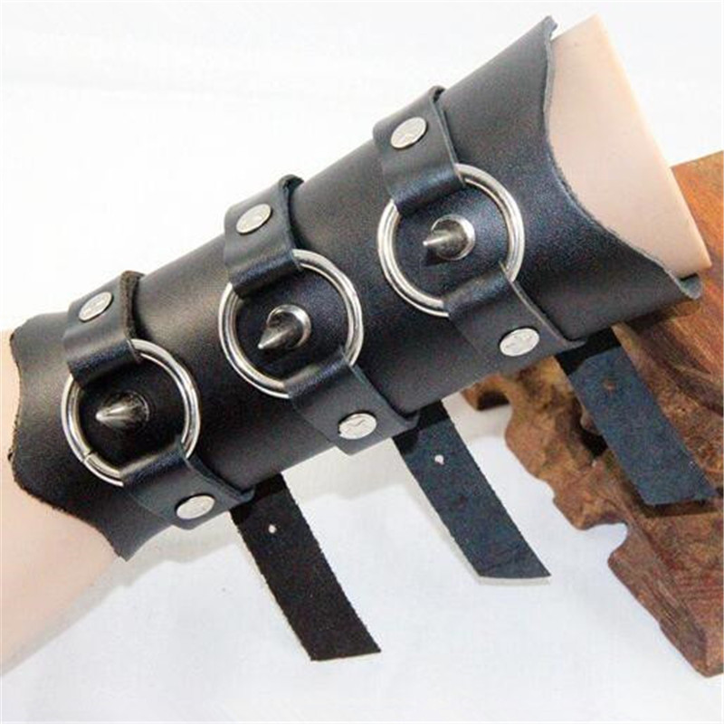 Costumes & Accessories Cheap Price Esihou Rivet Middle Ages Cosplay Props Style Punk Rock Leather Wrist Strap Cuff Acc Wrist Support Guard Moderate Cost Costume Props
