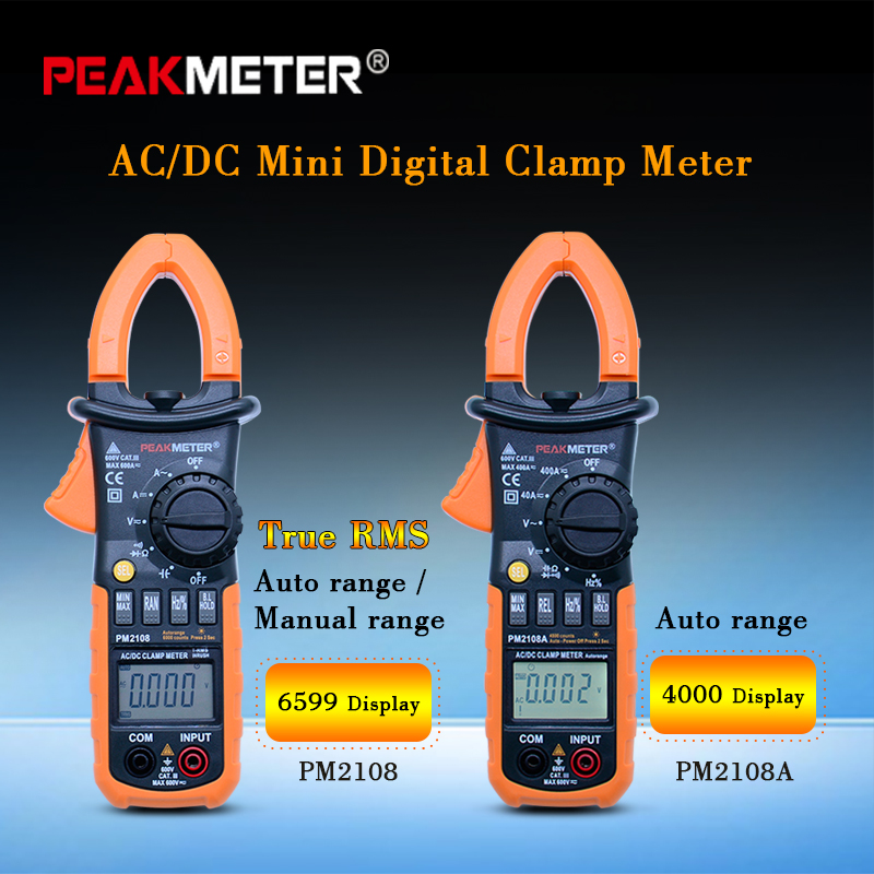 PM2018A/PM2108 True rms Auto range Multimeter Clamp meter Digital Resistance DC AC Voltage Current meter uni t ut205 ture rms auto manual range digital handheld clamp meter multimeter ac dc voltage aca test tool