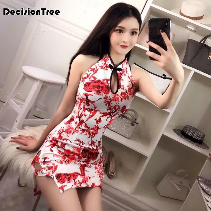 2019 Red And White Cheongsam Modern Qipao Short Evening Dress Traditional Sexy Nightclub Retro Cheongsam Chinese Dress