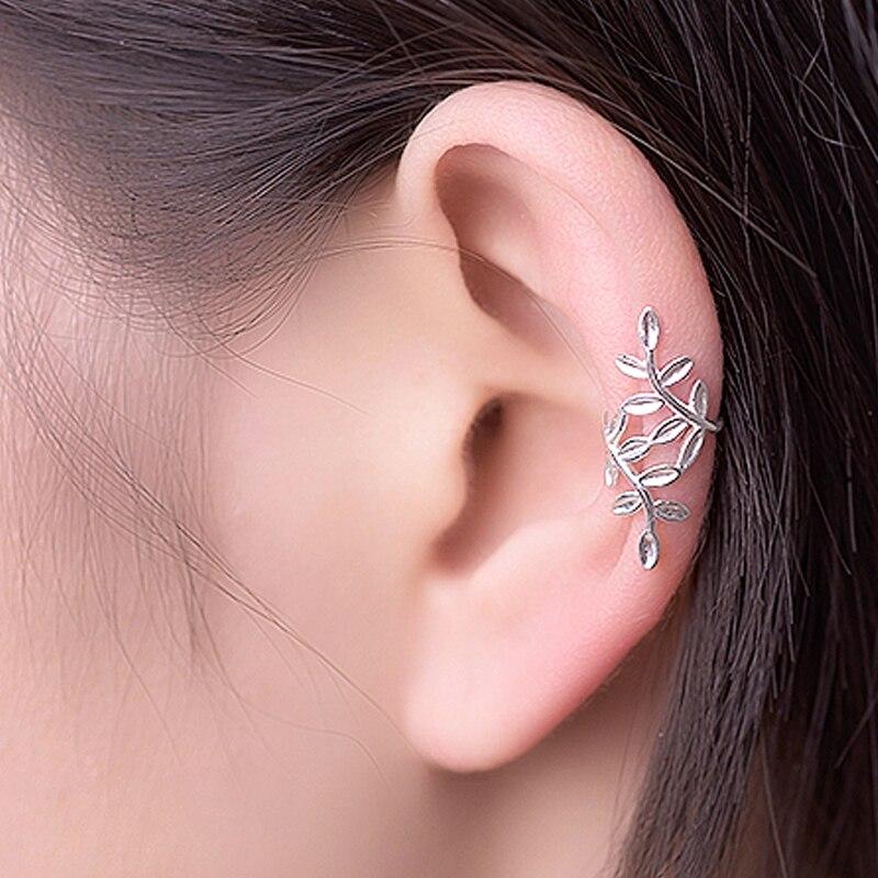 ROCKART 100% Sterling Silver 925 Clip Earrings Ear Cuff Authentic Fine Jewelry For Women Creative Gift No Piercing Laurel Leaf