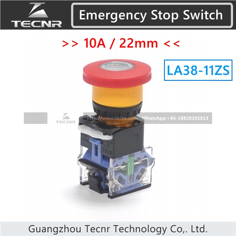 Emergency Stop Switch 10A For Laser Engraving Machine Parts LA38-11ZS