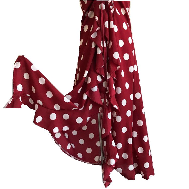 Women Beach Red Dress 2019 Summer New Seaside Holiday Sleeveless Dot Print Casual Vestidos E496 65
