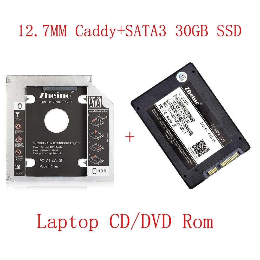 Zheino SATAIII 30 ГБ SSD с Алюминий 12,7 мм Кэдди ноутбук 2nd Sata SSD HDD Frame кэдди адаптер залива CD /DVD-ROM оптическая для ноутбука