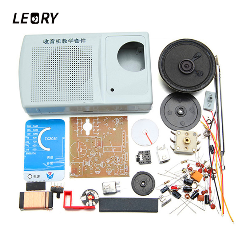 LEORY AM FM Radio Kit DIY ZX2051 Type IC Electroinc Learning Kit Suite 8 ohm