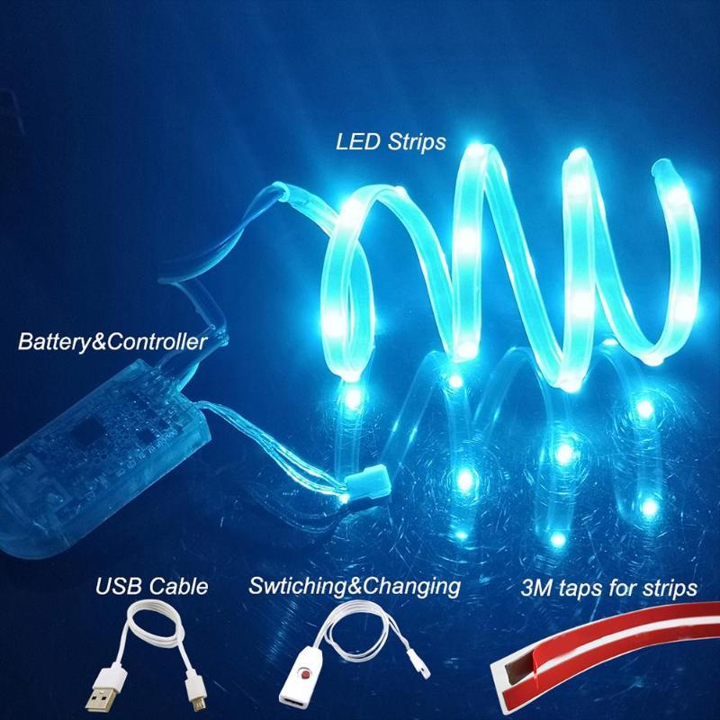 RGB LED Strip Light Waterproof 3.7V DIY Desktop Flexible Strip Lamp Tape Ribbon With 3m Glue DIY Can Meet The Requirements