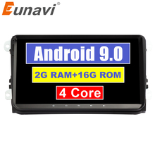 Eunavi 9 »Quad core 2 Din Android 9,0 Автомагнитола Стерео gps для VW Polo Jetta Tiguan passat b6 cc fabia Зеркало Ссылка Wi-Fi usb