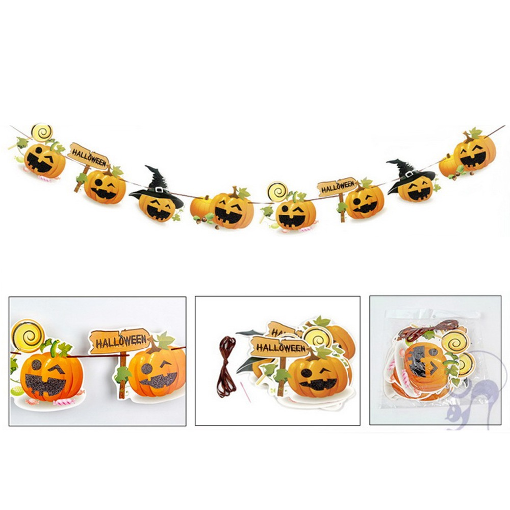 Halloween Bunting Banner Pumpkin Ghost Witch Letters Hanging Flags Festival Decoration DIY Party Decor Supplies Horror Garland