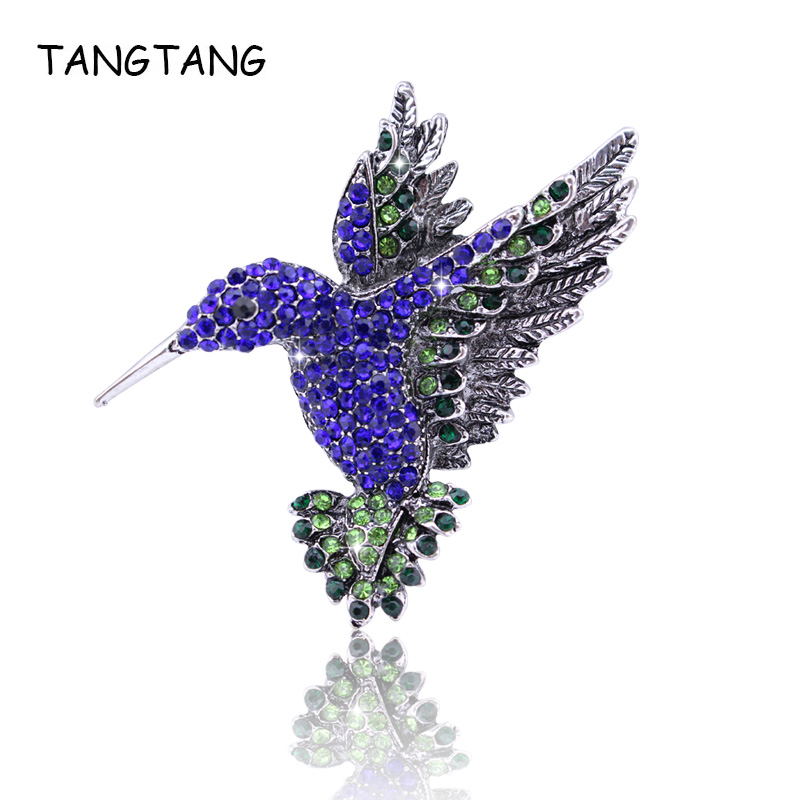 Vintage Blue Crystal Bird Brooch For Women Collar Pins Corsage Rhinestone Animal Hummingbird Pin Jewelry Accessories, FB201