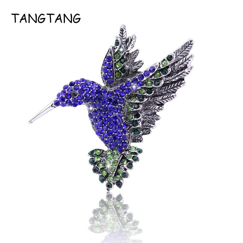Vintage Blue Crystal Bird Brooch For Women Collar Pins Corsage Rhinestone Animal Hummingbird Pin Jewelry Accessories, FB201