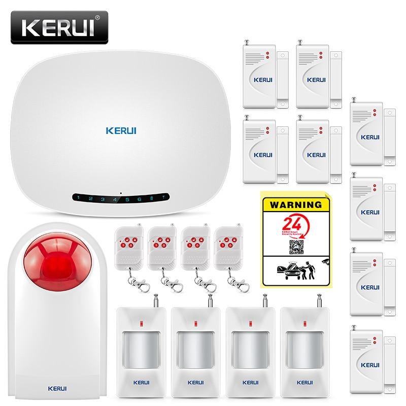 US $26 11 19% OFF|KERUI W19 Wireless Home Alarm GSM Alarm Suits Auto dialer  Security IOS/Android Alarmas APP Control SMS Burglar Alarm System-in Alarm