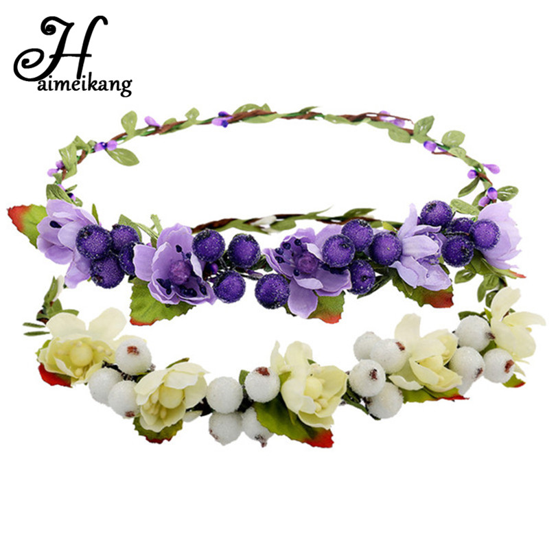 Haimeikang Hair Bands for Women Girls Fashion Hair Flower Bezel Beach Crown Wreath Headband Hair Accessories 12 Colors Headwear metting joura vintage bohemian green mixed color flower satin cross ethnic fabric elastic turban headband hair accessories