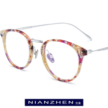 Pure Titanium Acetate Eyeglasses Frame Men Round Optical Eye Glasses for Women Vintage Myopia Retro Spectacle Eyewear 9132