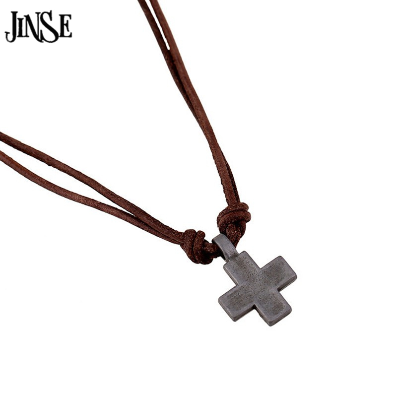 CLN101 New Fashion Collars Leather Vintage Alloy Cross Pendants Necklaces for Women Men Jewelry 2016