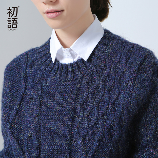 Toyouth Winter New Sweater Women O-Neck Retro Solid Knitted Pullovers Slim Casual Sweaters