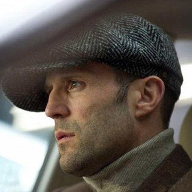 Men s cap New Newsboy Caps Movie star Retro HERRINGBONE TWEED cap Driving  Men Wool Fleece Hat 48bc2176724d