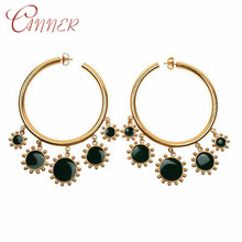 CANNER Fashion Statement Round Dangle Earrings for Women Girls Geometric Jewelry Circle Dripping Oil Big Drop