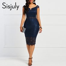 Sisjuly Bodycon Women Dress Lace Slash Neck Hollow Backless Sexy Elegant OL Party Chic Summer Patchwork Sheath Retro Dresses