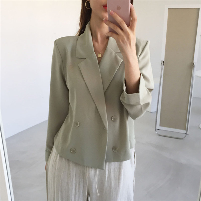 HziriP Full Sleeves Office Ladies Fashion Summer 2019 Chic Simple Blazers Double Breasted Women Loose All Match Chiffon Blazer