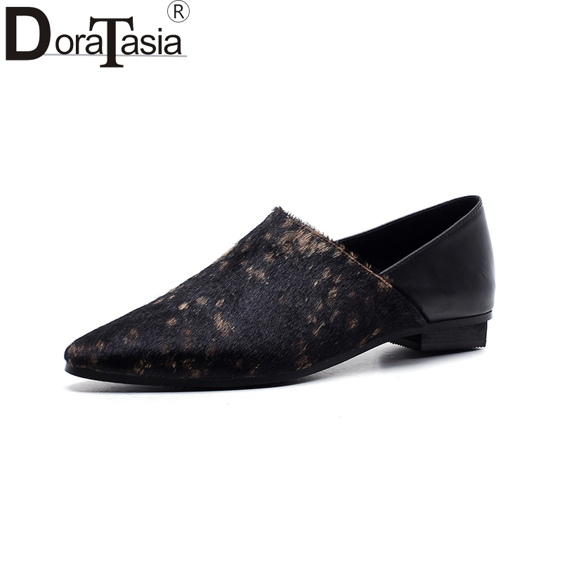 DoraTasia 2018 Fashion Top Quality Large Size 33-43 Brand Flats Woman Shoes Women Slip On Pointed Toe Black Woman Shoes fashion women shoes woman flats high quality comfortable pointed toe rubber women sweet flats hot sale shoes size 35 40