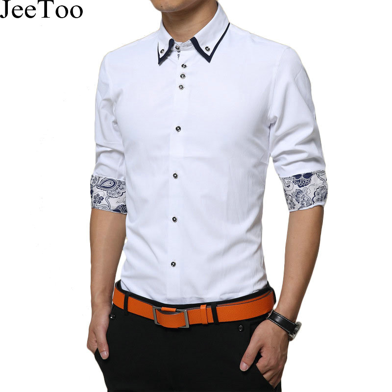 Men Shirts Double Collar Dress Shirts Mens Long Sleeve Solid Male Clothing Cuff Print Cotton Chemises Homme Fashion New Arrival