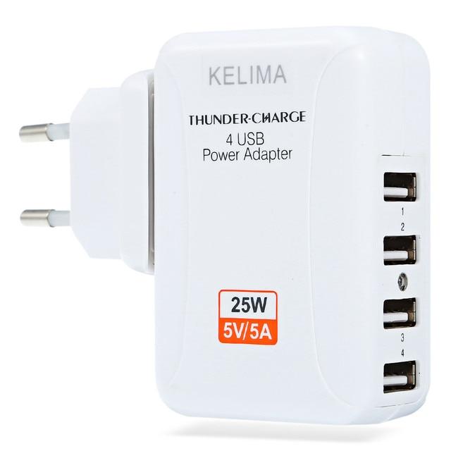 KELIMA Новый 4 Порта USB Многофункциональный Адаптер Путешествия Стены AC Зарядное Устройство с ЕС Plug 2017 Оптовая Высокое Качество Горячей Продажи ЕС Plug