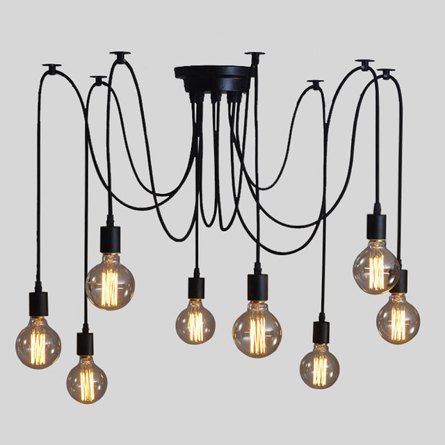 Loft Vintage Eletrical Wire Pendant Lights With 6/8/10/12/14 arms ...