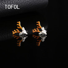 TOFOL Earrings Bronze Female Earrings Personality Fashionable Temper Lovely Elk Gold Little Antlers Earrings Christmas Gifts