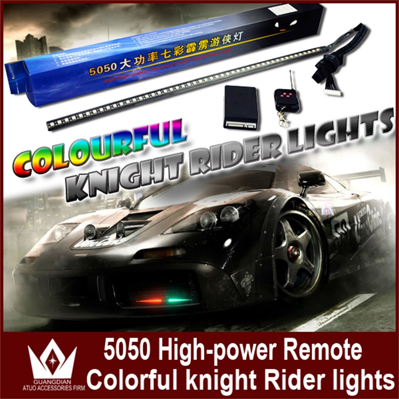 Tcart Auto LED Strip Scan Knight Rider Led Lights With Remote Control RGB Ranger Lights 147 model 54CM 5050 For Mitsubishi ASX