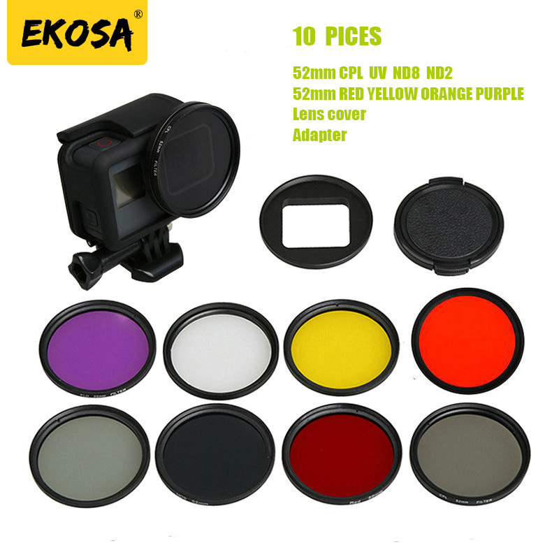 Ekosa Dome Filter For Gopro Hero 5 6 Black Lens Kit Mount Adapter Part CPL UV ND Polarizer Camera For Go pro Hero 5 6 Accessorie 45m waterproof case mount protective housing cover for gopro hero 5 black edition