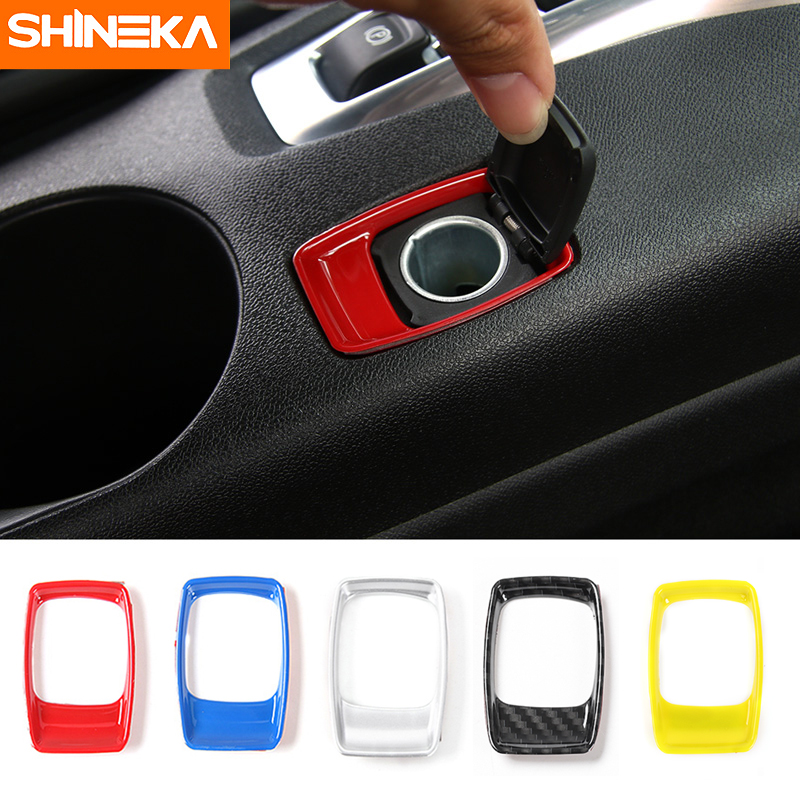 SHINEKA Car Styling ABS 5 Colors Cigar Lighter Decorative Trim Cover for 6th Gen Chevrolet Camaro 2017+ Interior Accessories accessories for chevrolet camaro 2016 2017 abs carbon fiber style the co pilot central control strip molding cover kit trim page 2