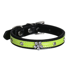 Fashion Pu Leather Dog Collar Bling Diamante Flower Crystal Studded Collars Adjustable Puppy Pet Necklace Size S M