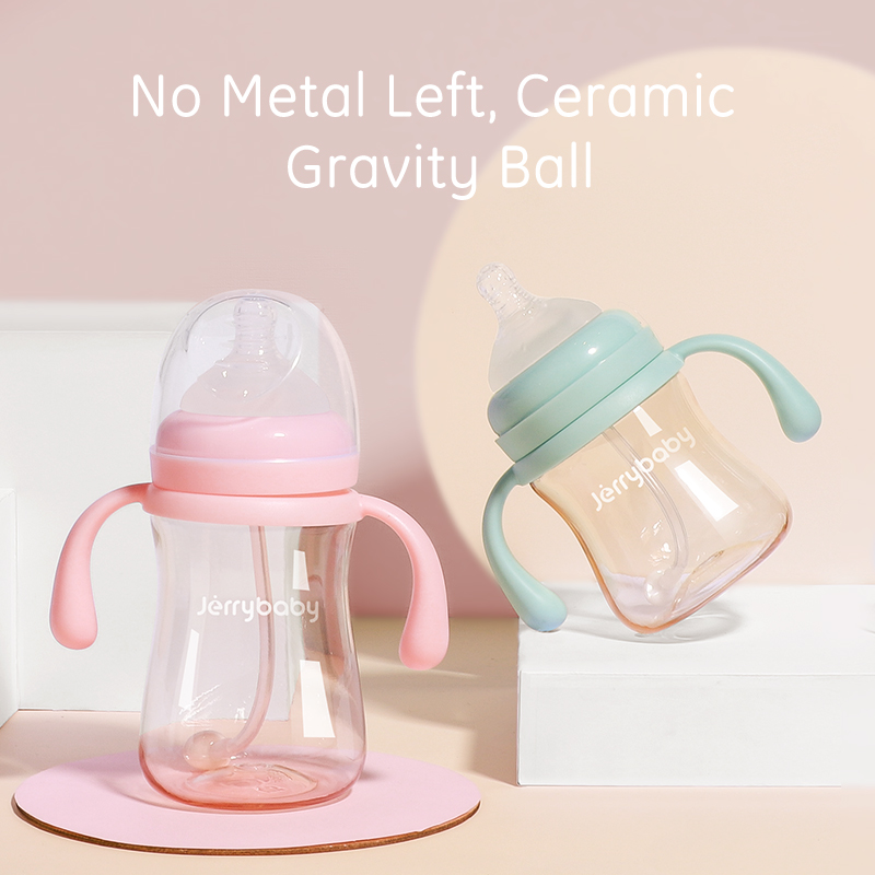 Jerrybaby Feeding Bottle Baby Wide-Neck Bottle W/ Natural Silicone Nipple Biberon Newborn Nursing Milk Cup 180ml / 280ml(China)