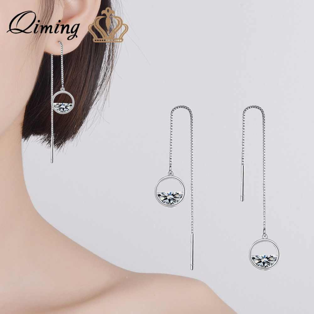 QIMING Simple Korean Earrings Pendants Long Link Chain CZ Zircon Luxury Fashion Wedding Clear Stone Women Earring Femme