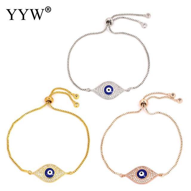 New Simple Turkish Gold Silver Evil Eye Bracelet Blue Chain Fashion Charm Bracelets